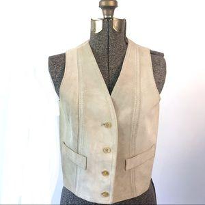 Vintage Genuine Suede Vest Prairie Vest Cream Vest